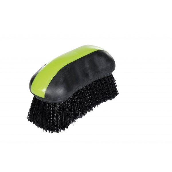 brosse pour chevaux avec manche antidérapant et ergonomique et poils longs doux couleur vert et noir