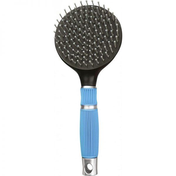 brosse pour les crins des chevaux Hippotonic avec poignée anti-dérapante couelur bleu et noir