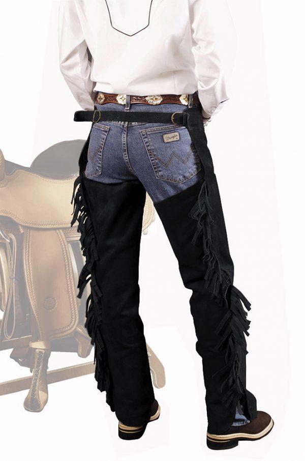 chaps hautes en cuir à franges pour l'équitation western couleur noir