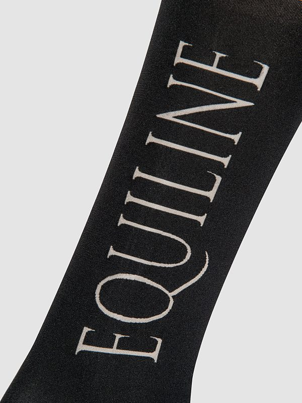 chaussettes hautes fines d'équitation en microfibres modèle Softly de Equiline vue logo côté