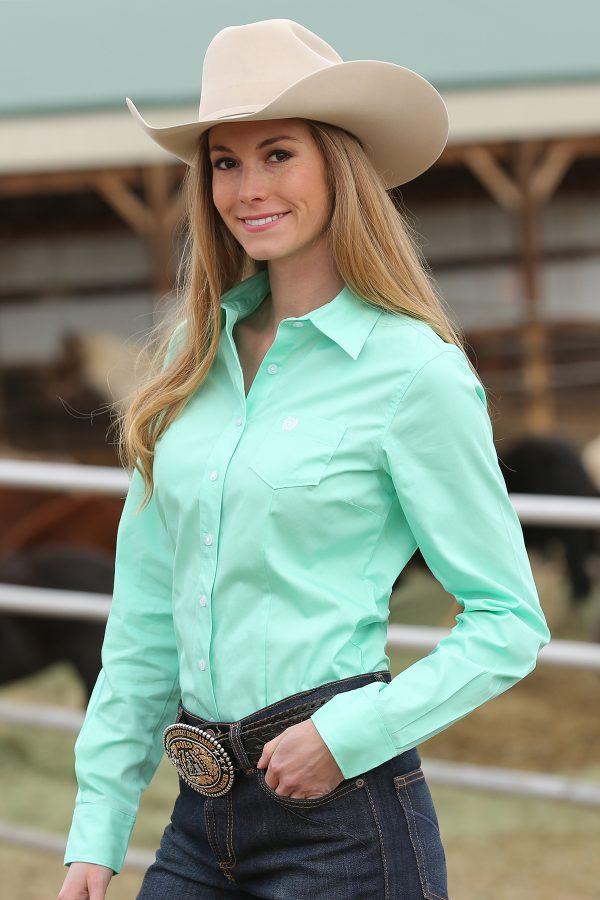 chemise western femme cinch couleur vert clair vue de face
