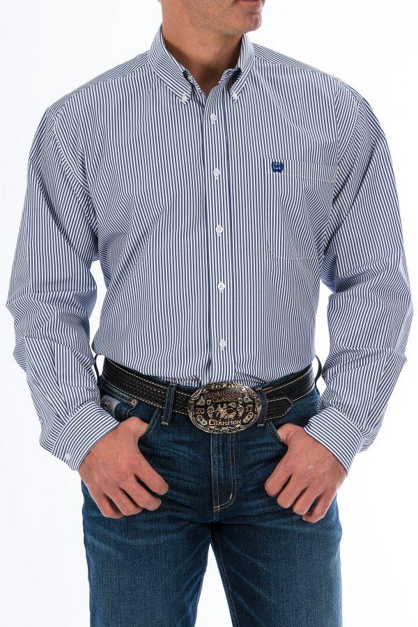 chemise western à rayure bleu homme marque cinch vue de face