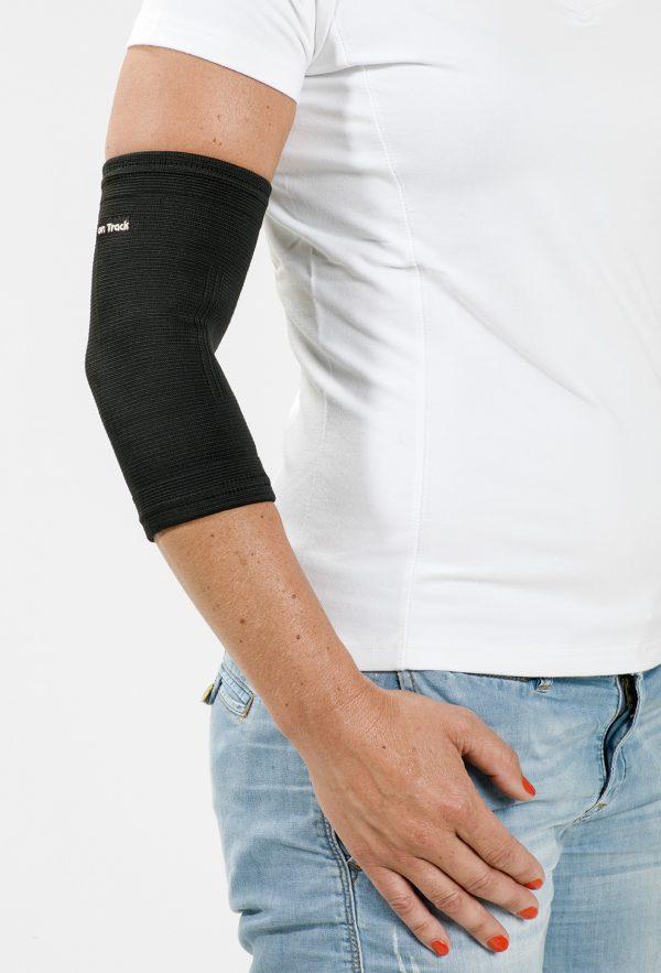 coudière pour soutenir le coude en veltex de marque Back on Track noir vue portée