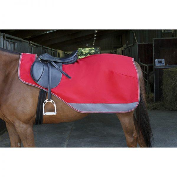 couvre reins equitheme tyrex 1200 denieres double polaire rouge et grise sur cheval