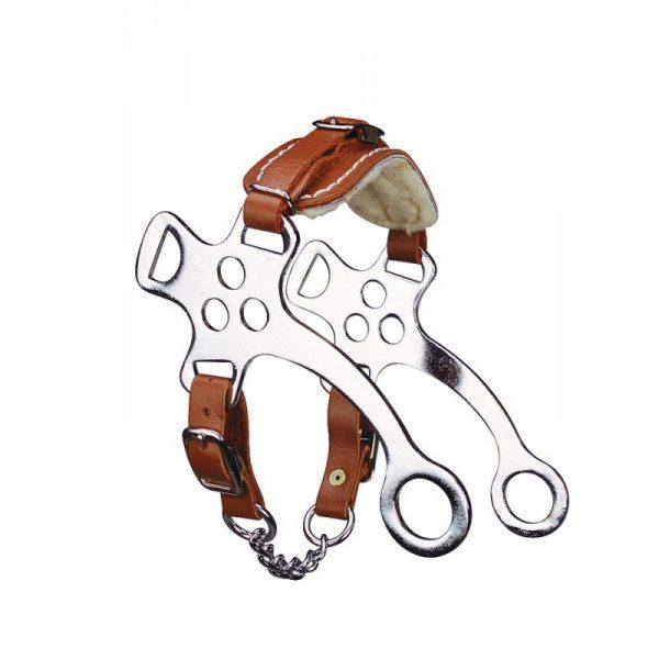 hackamore pour cheval en cuir marron doublé de mouton et branches en inox
