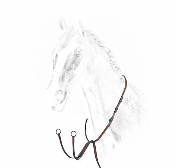 martingale pour cheval en cuir marque equiline couleur marron