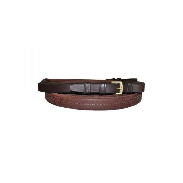 rênes pour cavalier en caoutchouc souple largueur 14 mm de marque canter couleur marron