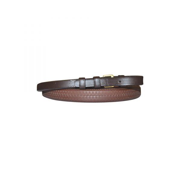 rênes pour cavalier en caoutchouc souple largueur 16 mm de marque canter couleur marron