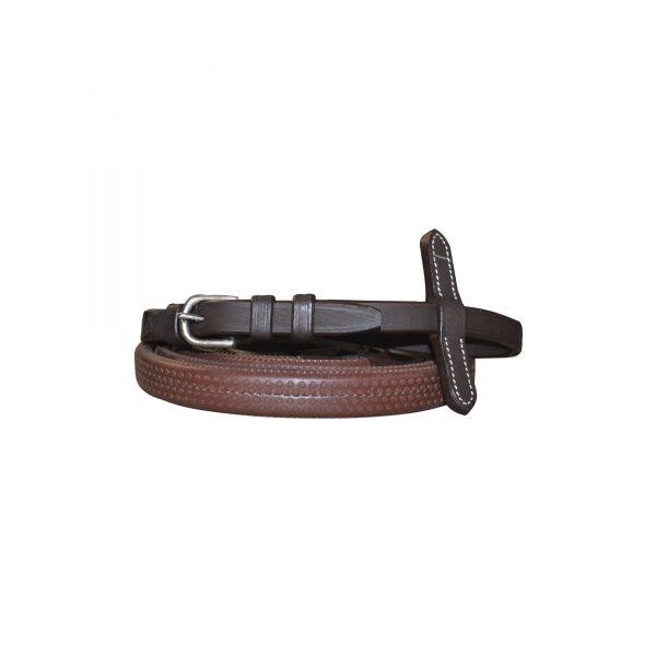 rênes pour cavalier en caoutchouc souple largueur 14 mm de marque privilège equitation couleur marron