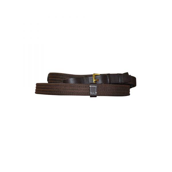 rênes pour cavalier en tissu marron avec des arrêtoirs en cuir de marque chetak et de couleur marron