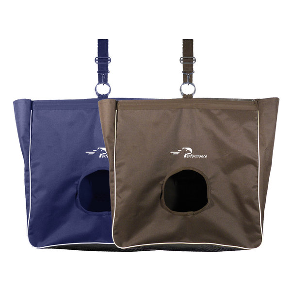 sac à foin pour les chevaux, modèle rigide avec un trou et une sangle d'attache de marque performance couleur bel et marron