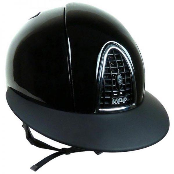 casque d'équitation noir modèle Crome Shine avec visière polo de la marque Kep