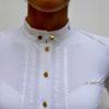 Polo de concours d'équitation Le Sabotier modèle Luce couleur blanc vue détaillée sur le col de face