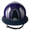 Casque d'équitation de marque Kep modèle Cromo Shine visière polo couleur bleu vue de face