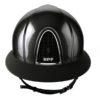Casque d'équitation de marque Kep modèle Cromo Shine visière polo couleur noir vue de face