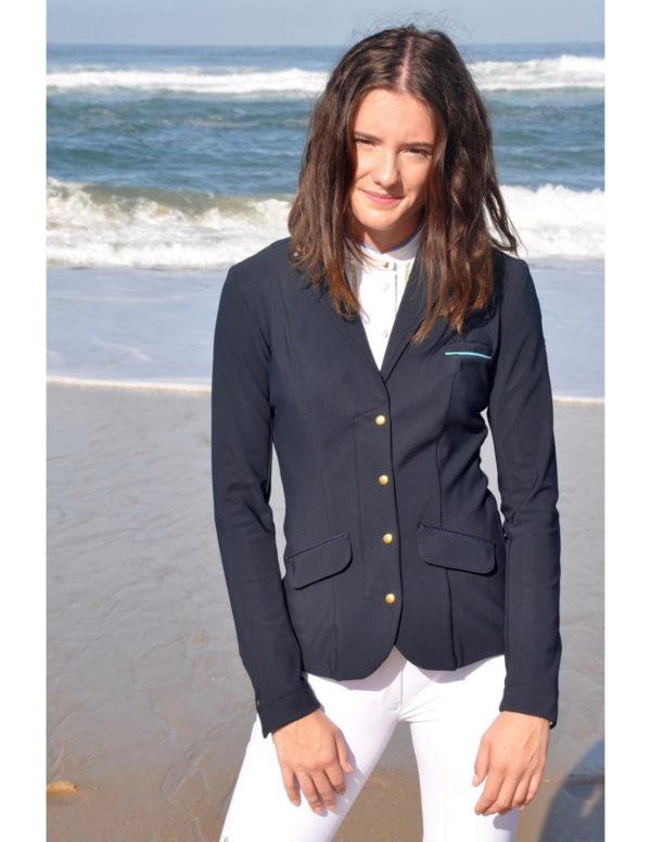 Veste de concours d'équitation Le Sabotier modèle Artéa couleur bleu nuit vue de face