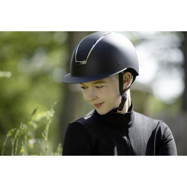 Casque d'équitation lady shield de la marque HKM couleur noir / argent