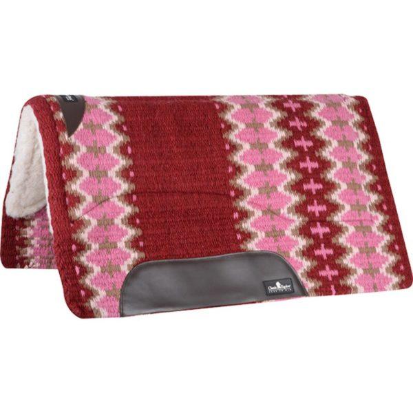 tapis de selle pad western classic equine rose et rouge